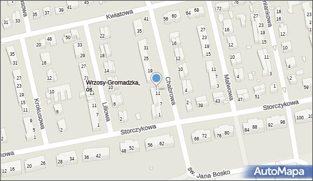 Toruń, Chabrowa, 13, mapa Torunia