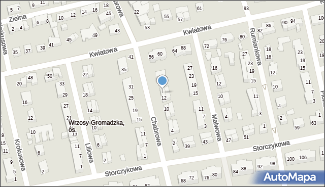 Toruń, Chabrowa, 14, mapa Torunia