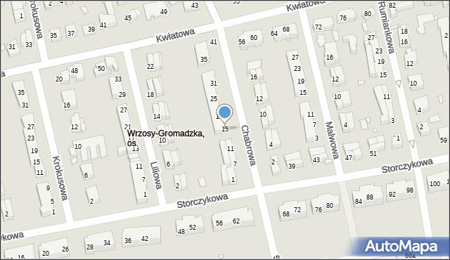 Toruń, Chabrowa, 15, mapa Torunia