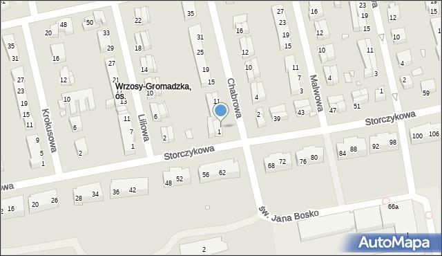 Toruń, Chabrowa, 3, mapa Torunia