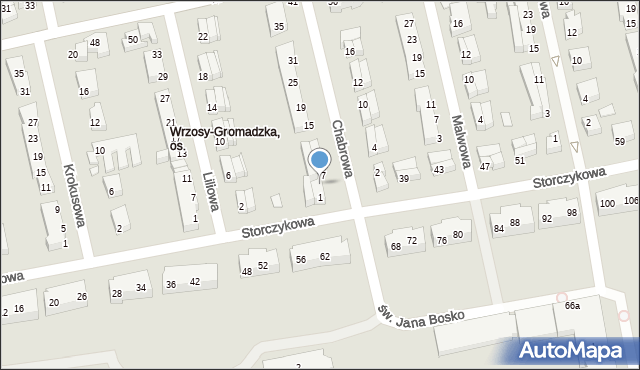 Toruń, Chabrowa, 5, mapa Torunia
