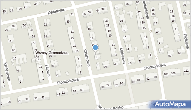 Toruń, Chabrowa, 6, mapa Torunia