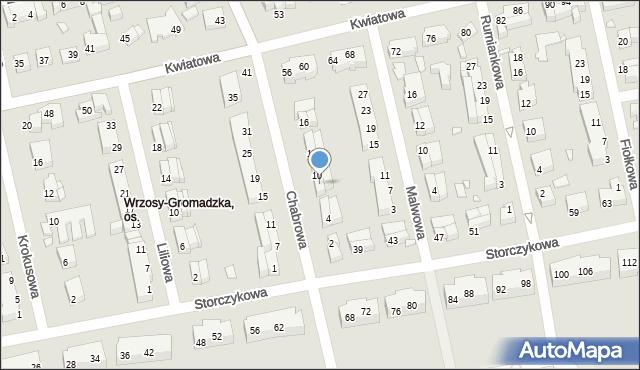 Toruń, Chabrowa, 8, mapa Torunia