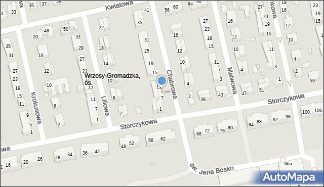 Toruń, Chabrowa, 9, mapa Torunia