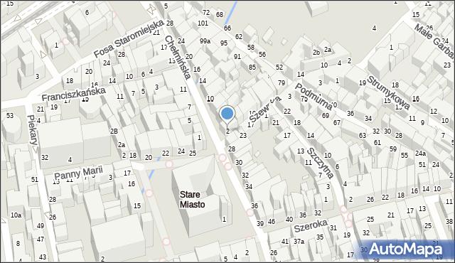 Toruń, Chełmińska, 2, mapa Torunia