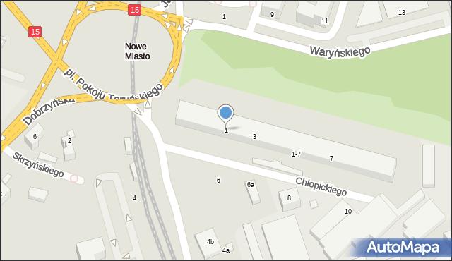 Toruń, Chłopickiego Józefa, gen., 1, mapa Torunia