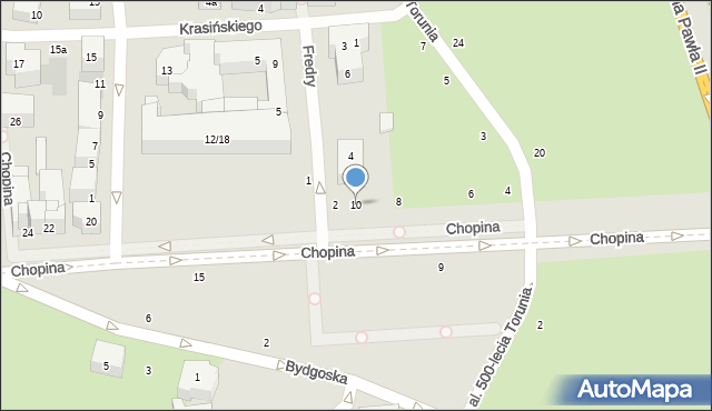 Toruń, Chopina Fryderyka, 10, mapa Torunia