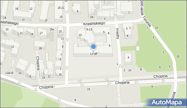 Toruń, Chopina Fryderyka, 12/18, mapa Torunia