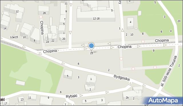 Toruń, Chopina Fryderyka, 15, mapa Torunia