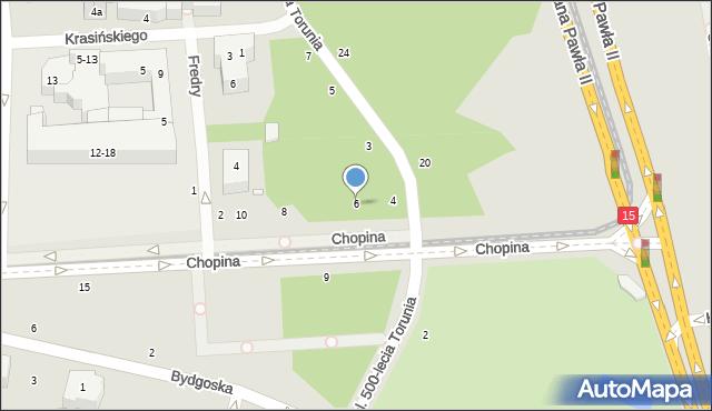 Toruń, Chopina Fryderyka, 6, mapa Torunia