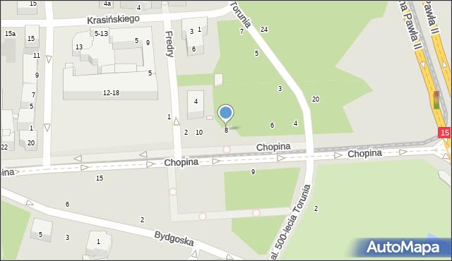 Toruń, Chopina Fryderyka, 8, mapa Torunia