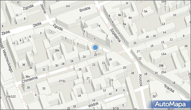 Warszawa, Chmielna, 22, mapa Warszawy