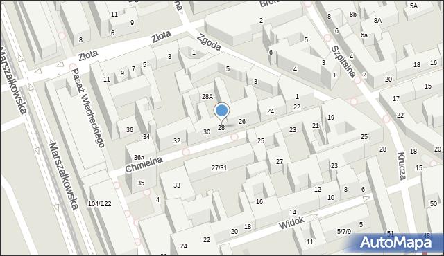 Warszawa, Chmielna, 28, mapa Warszawy