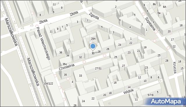 Warszawa, Chmielna, 30, mapa Warszawy