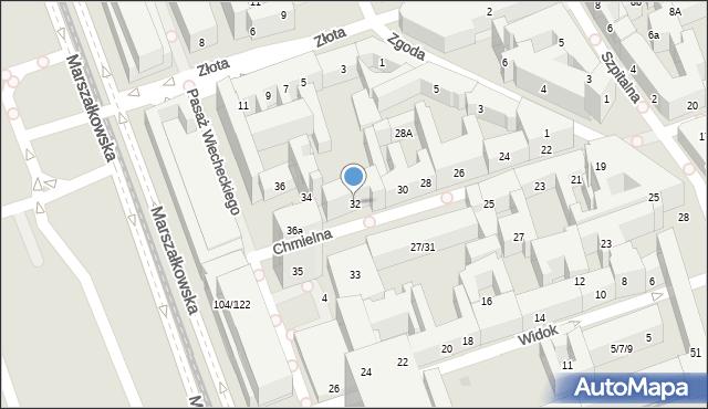 Warszawa, Chmielna, 32, mapa Warszawy