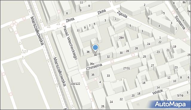 Warszawa, Chmielna, 34, mapa Warszawy