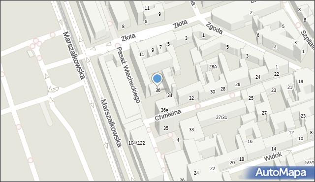 Warszawa, Chmielna, 36, mapa Warszawy