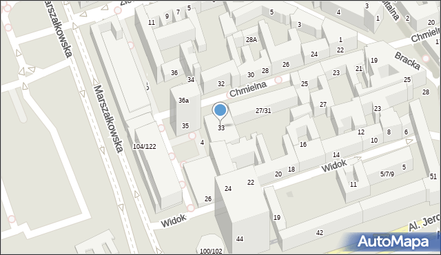 Warszawa, Chmielna, 33, mapa Warszawy