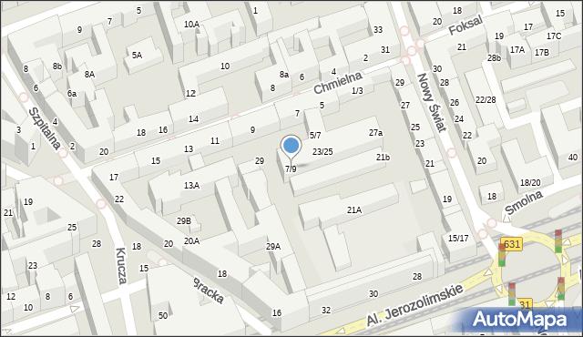 Warszawa, Chmielna, 7/9, mapa Warszawy