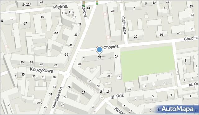 Warszawa, Chopina Fryderyka, 5B, mapa Warszawy