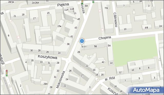Warszawa, Chopina Fryderyka, 7, mapa Warszawy