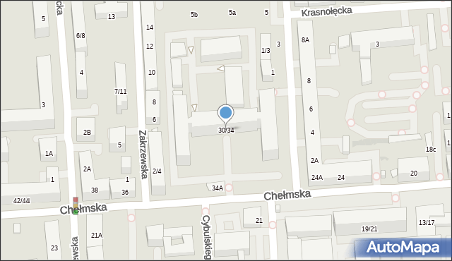 Warszawa, Chełmska, 30/34, mapa Warszawy