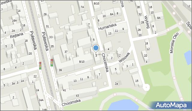 Warszawa, Chocimska, 3, mapa Warszawy