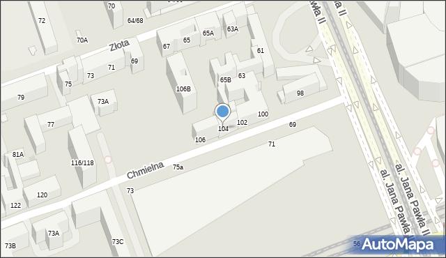 Warszawa, Chmielna, 104, mapa Warszawy