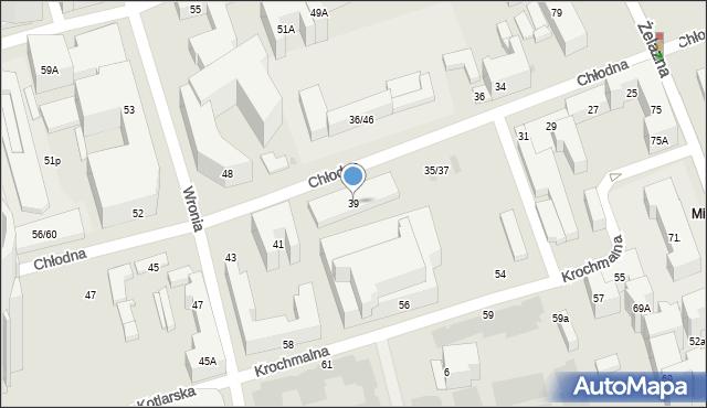 Warszawa, Chłodna, 39, mapa Warszawy