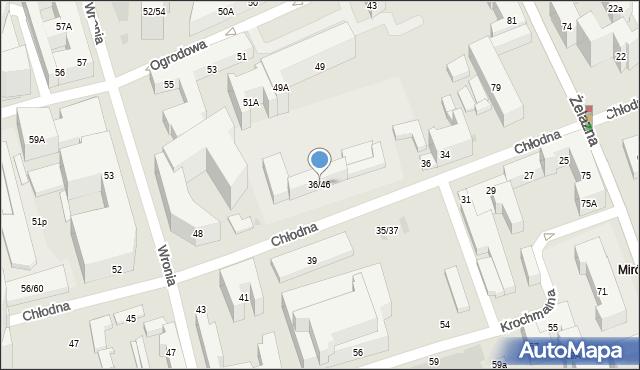 Warszawa, Chłodna, 36/46, mapa Warszawy