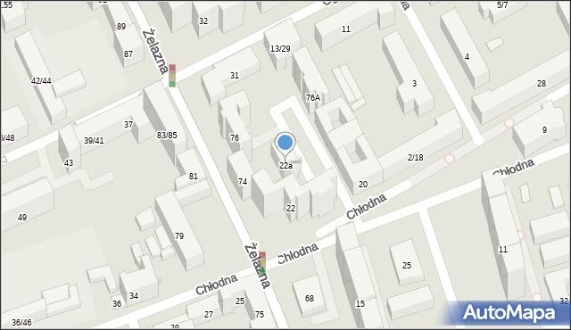 Warszawa, Chłodna, 22a, mapa Warszawy