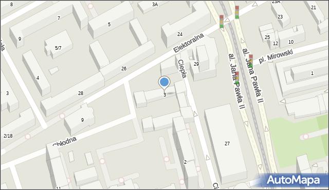 Warszawa, Chłodna, 3, mapa Warszawy