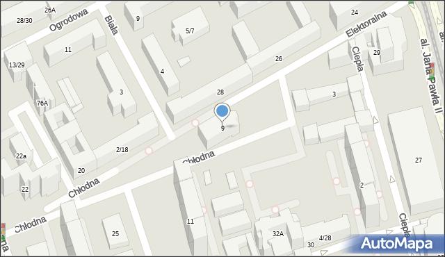 Warszawa, Chłodna, 9, mapa Warszawy