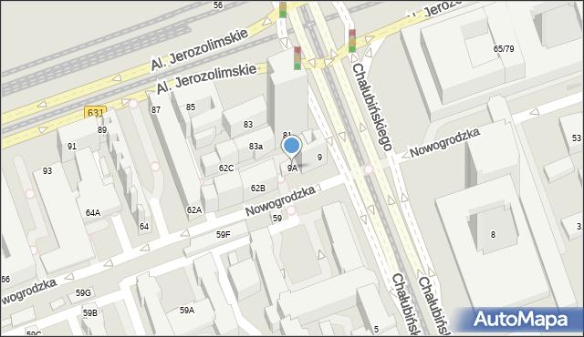 Warszawa, Chałubińskiego Tytusa, 9A, mapa Warszawy