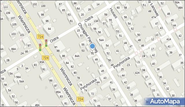 Warszawa, Chorągwi Pancernej, 51, mapa Warszawy