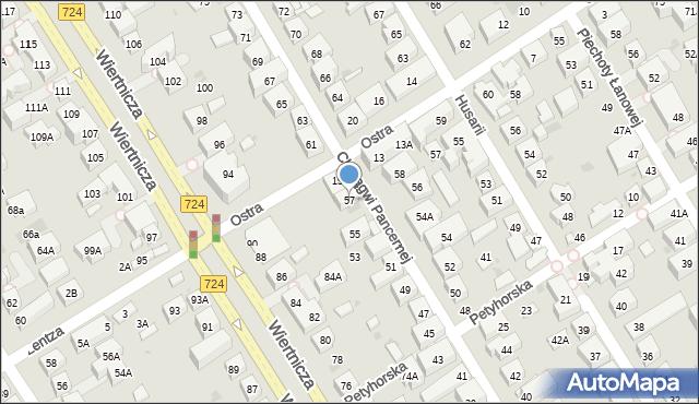 Warszawa, Chorągwi Pancernej, 57, mapa Warszawy