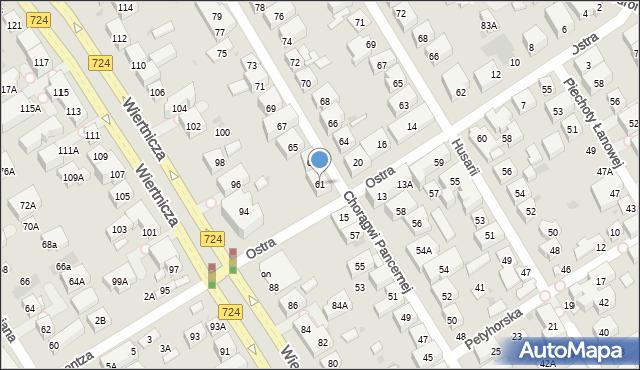 Warszawa, Chorągwi Pancernej, 61, mapa Warszawy