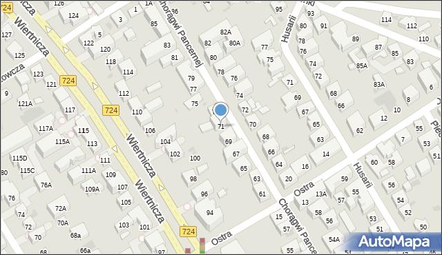 Warszawa, Chorągwi Pancernej, 71, mapa Warszawy