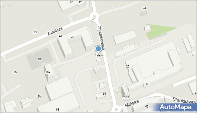 Warszawa, Chodakowska, 37, mapa Warszawy