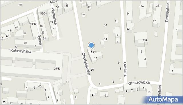 Warszawa, Chodakowska, 12A, mapa Warszawy