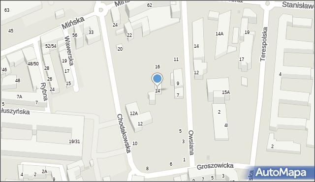 Warszawa, Chodakowska, 14, mapa Warszawy