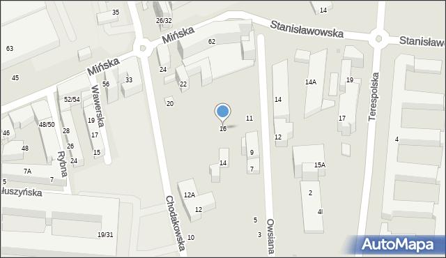 Warszawa, Chodakowska, 16, mapa Warszawy