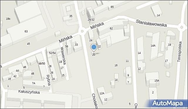 Warszawa, Chodakowska, 20, mapa Warszawy