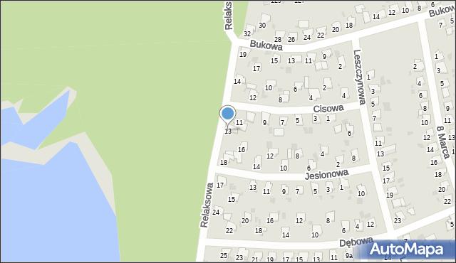 Bytom, Cisowa, 13, mapa Bytomia