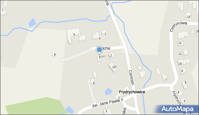 Frydrychowice, Cicha, 3, mapa Frydrychowice