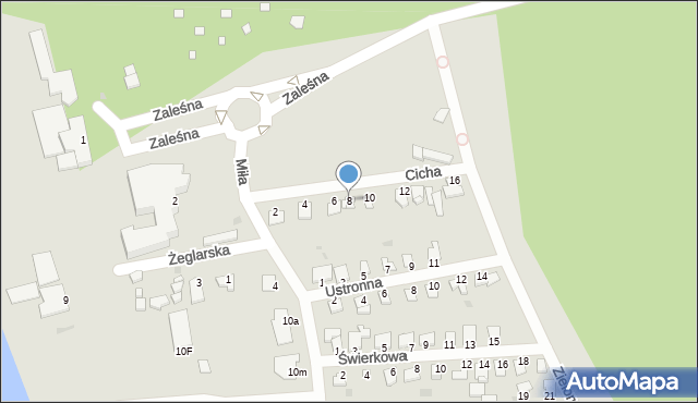 Grudziądz, Cicha, 8, mapa Grudziądza