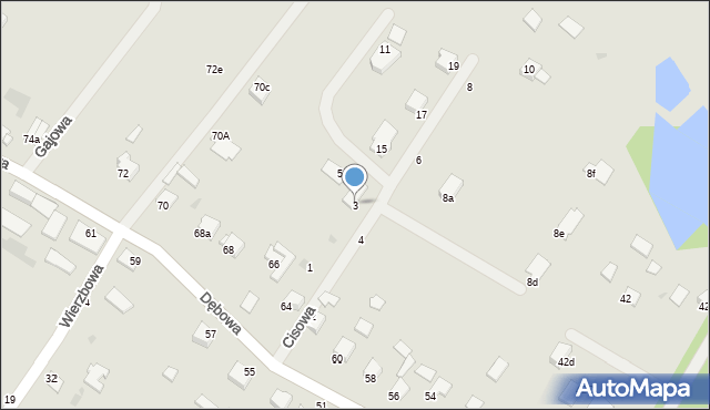 Grudziądz, Cisowa, 3, mapa Grudziądza