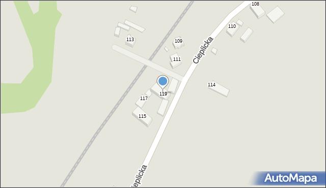Jelenia Góra, Cieplicka, 119, mapa Jelenia Góra