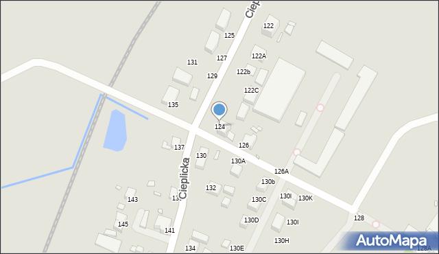 Jelenia Góra, Cieplicka, 124, mapa Jelenia Góra