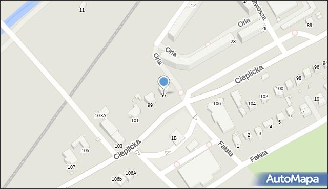 Jelenia Góra, Cieplicka, 97, mapa Jelenia Góra